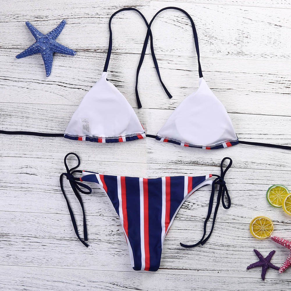 27204c17bc991 Amazon.com  Libermall Women s Sexy Striped Padded Halter Top Tie Side Bottom  String Bikini Two Piece Swimsuits Bathing Suit Swimwear  Clothing