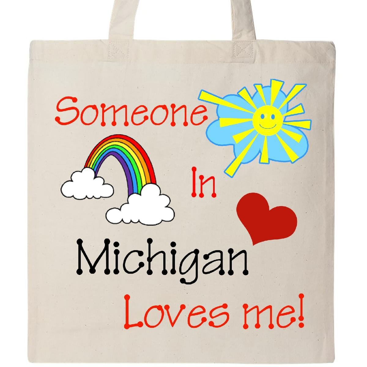 Inktastic Someone in Michigan loves me! Tote Bag Natural by inktastic (Image #1)