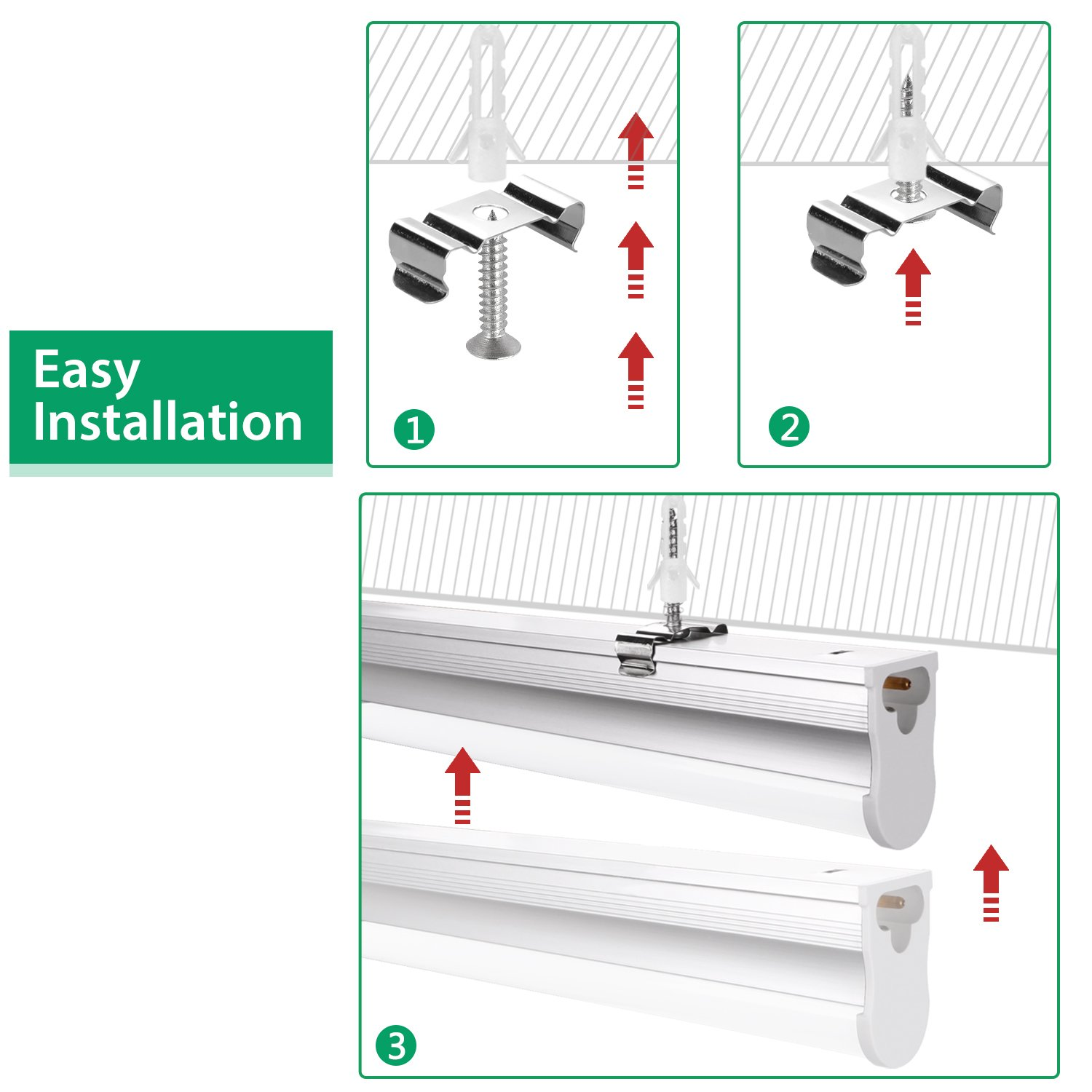 FrenchMay LED T5 mini utility linkable shop light 4ft, 22W, 85CRI, 2200Lumens, 5000K, 32w Fluorescent Equivalent, integrated ceiling light & under Cabinet shop light for garage, workshop, basement by FrenchMay (Image #3)