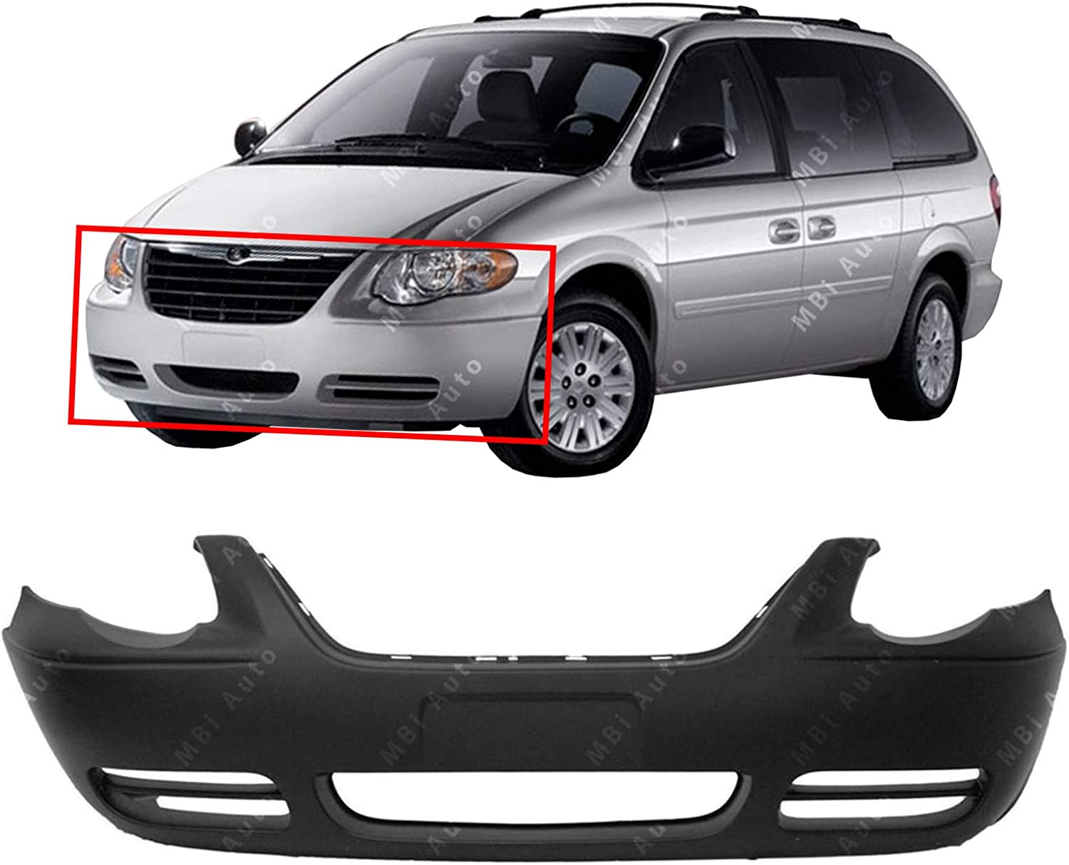 Front BUMPER COVER Primed for 2005-2007 Chrysler Town /& Country