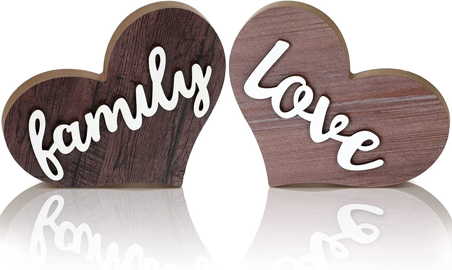Jetec 2 Pieces Love Family Heart Wooden Sign Heart Shaped Wooden Decoration Rustic Table Sign Wooden Heart Table Centerpiece for Home Kitchen Living Room Bedroom Office Table Decor