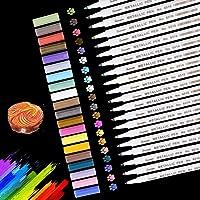 Vegena Metallic markeerstiften, acrylstiften 20 kleuren permanent metallic pen voor DIY fotoalbum scrapbooking…