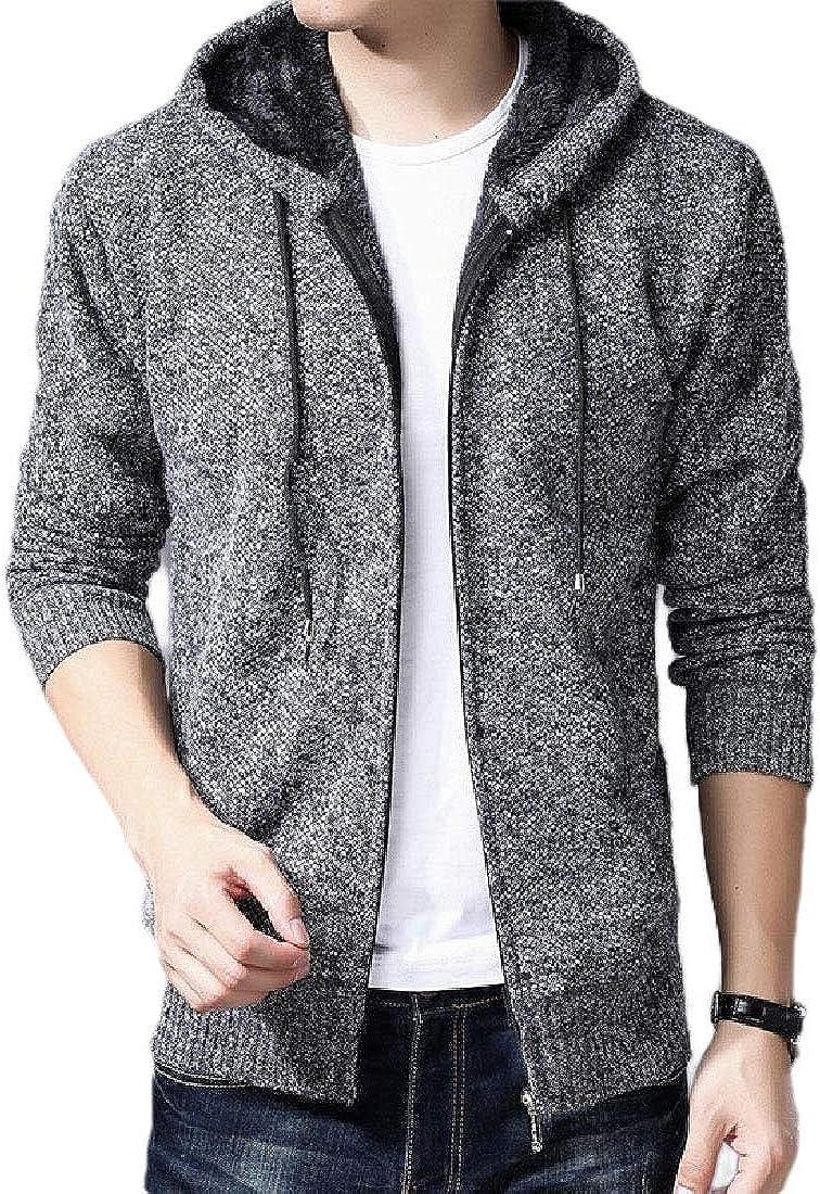 Gocgt Mens Thick Sherpa Lined Fleece Knit Hood Cardigan Parka Jacket