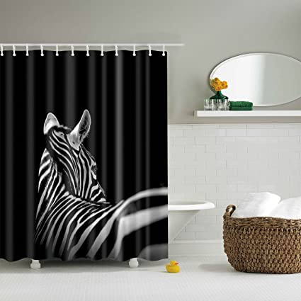 Image Unavailable Not Available For Color GWELL Waterproof Zebra Print Bathroom Shower Curtain