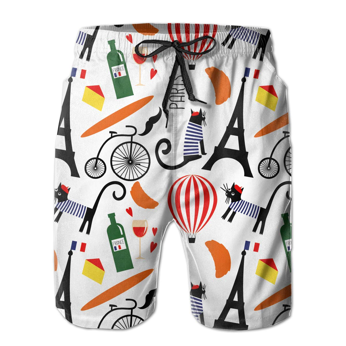 JIAU HUA French Culture Symbols Pattern Mens Quick Dry Swim Trunks Casual Beach Shorts with Lining Skateboard Shorts