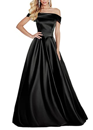 Geshun Womens Sexy Off The Shoulder Satin Black Evening Dress Formal Long Cheap Prom Gown With