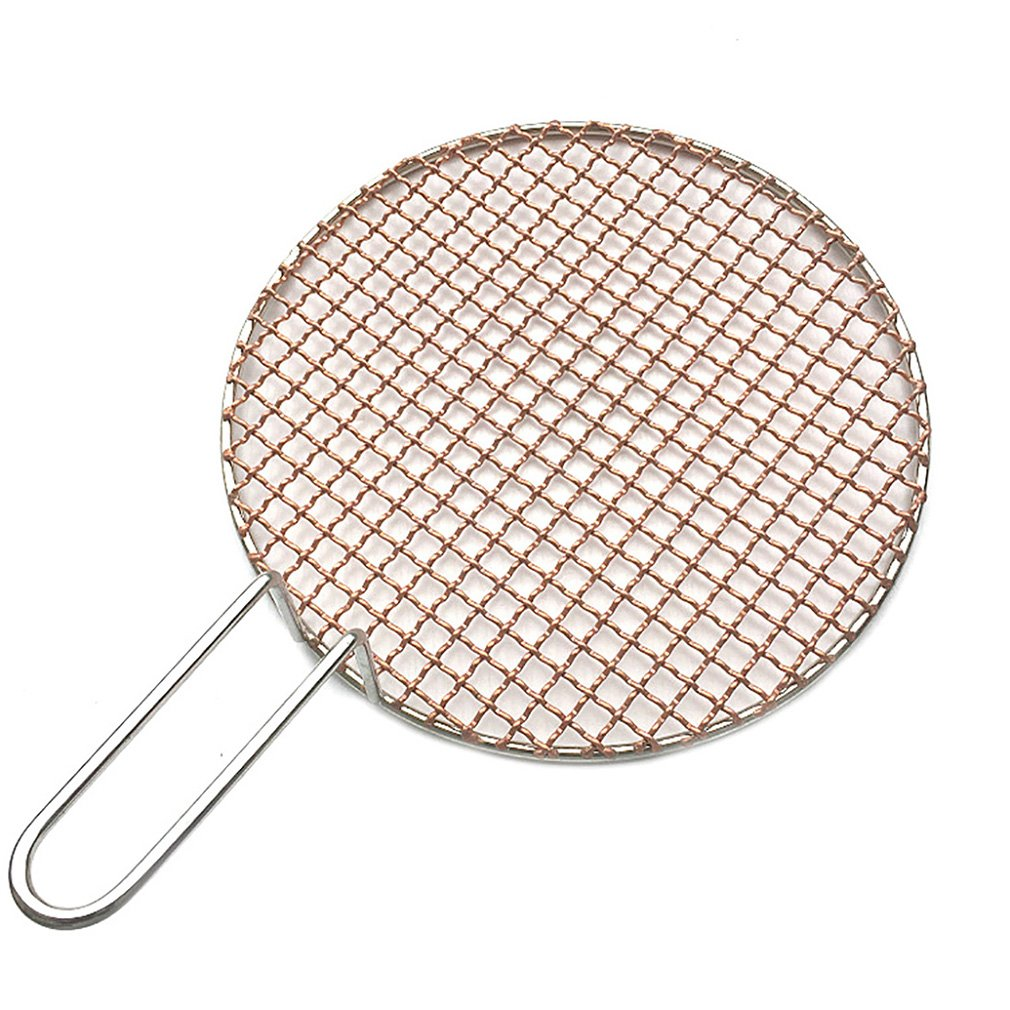 InBlossoms Copper Barbecue Grill Netting with Handle Round Barbecue Wire Mesh Steaming Cooling Baking Net for Korean BBQ by InBlossoms (Image #1)