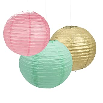 Set of 9 mixed gold pink mint green round paper lantern lamp shade set of 9 mixed gold pink mint green round paper lantern lamp shade for wedding birthday mozeypictures