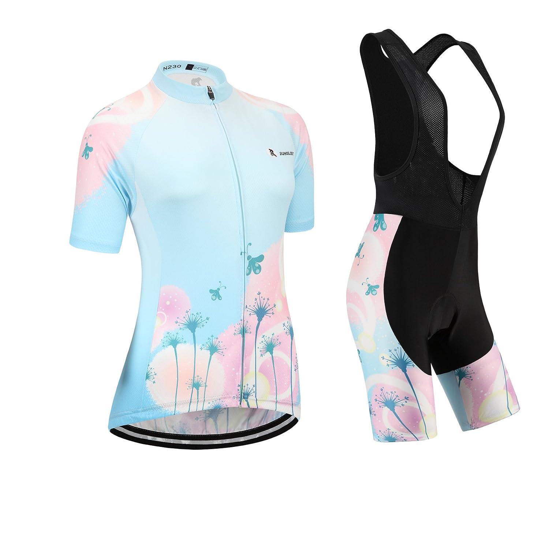 Cycling Jersey Setレディース半袖( S ~ 5 X L、オプション:よだれかけ、3dパッド) n230 (General pad)(Bust 43-45inchs) 種類: セット(ブラック前掛け) B01BX320TQ