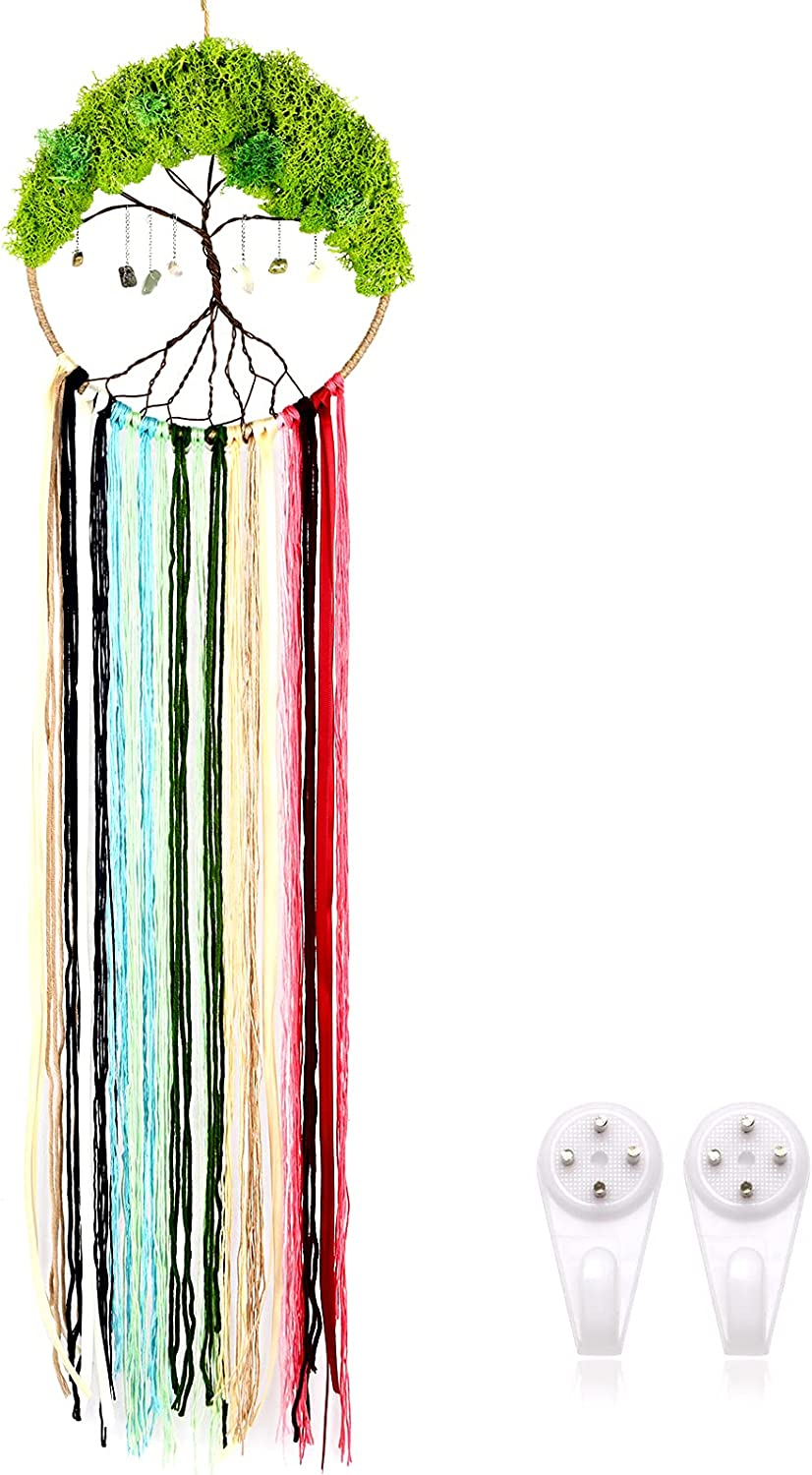 Tree of Life Dream Catcher,Colorful Dream Catcher for Bedroom,Long Tassel Family Wall Hanging Decor, Hand-Woven from Metal Cotton Tthread Crystal Stone,Gift for Family and Friends, Free 2 Hooks