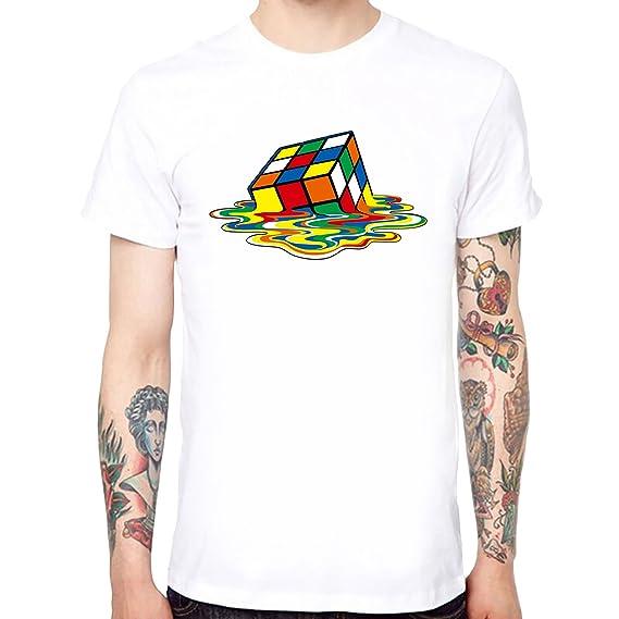 fast delivery wholesale price factory outlets Yingyan Rubik's Cube Men's Cool T-Shirts en Coton à Manches Courtes à  Manches Courtes Tee