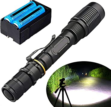 200000LM T6 Tactical XML Waterproof Zoomable LED Flashlight Torch Rechargeable