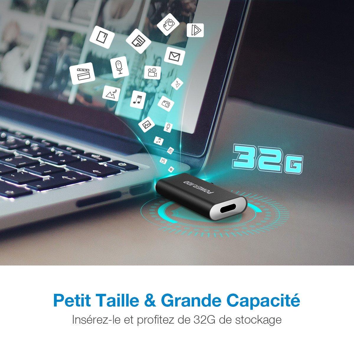 POWERADD Flash Drive Clé USB Fonction 3 en 1 (Type-C, Micro USB et USB 2.0) Compatible avec Ordinateur, Type-C/Micro USB Téléphone Portable, MacBook-Noir, 32Go