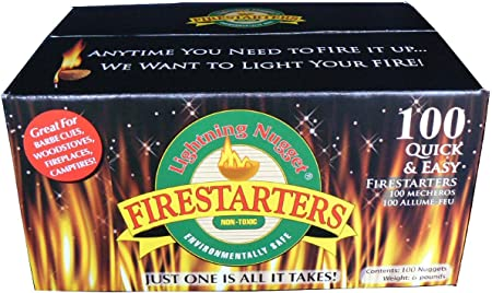 50 Count,Tan Tan Lightning Nuggets N50VBOX Firestarters Box of Fire-Starting Nuggets .1 Pack , 50 Count