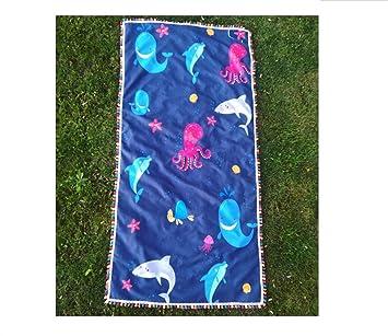 HSDDA Toalla de baño 1Pc Octopus Dolphin Print Toalla de Playa de Microfibra de protección Solar Chal Borla Picnic Mat Ducharse con una Toalla: Amazon.es: ...