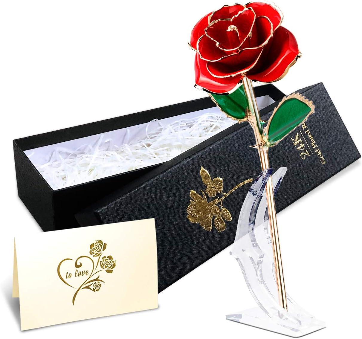 Esposa,Aniversario,Cumplea/ños Regalo Mujer,Novia Rosa de Oro 24K,Rosa Eterna Flores Chapadas en Oro con Base Soporte Transparente y Caja de Regalo para el D/ía de San Valent/ín,el D/ía de Madre