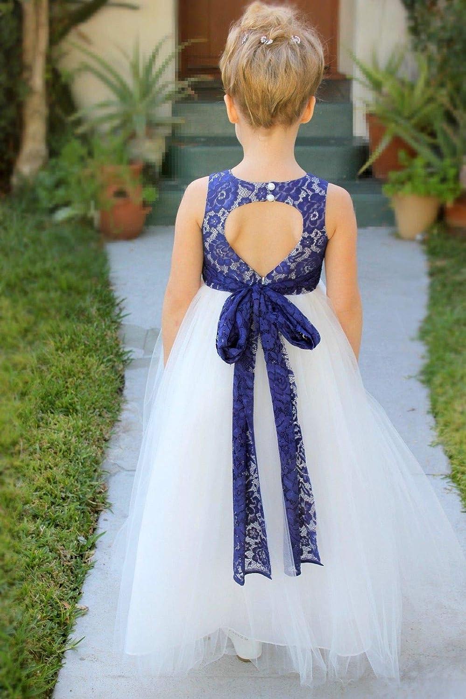 ekidsbridal Floral Lace Heart Cutout White Flower Girl Dresses Lace Back Dress First Communion Dress Baptism Dresses