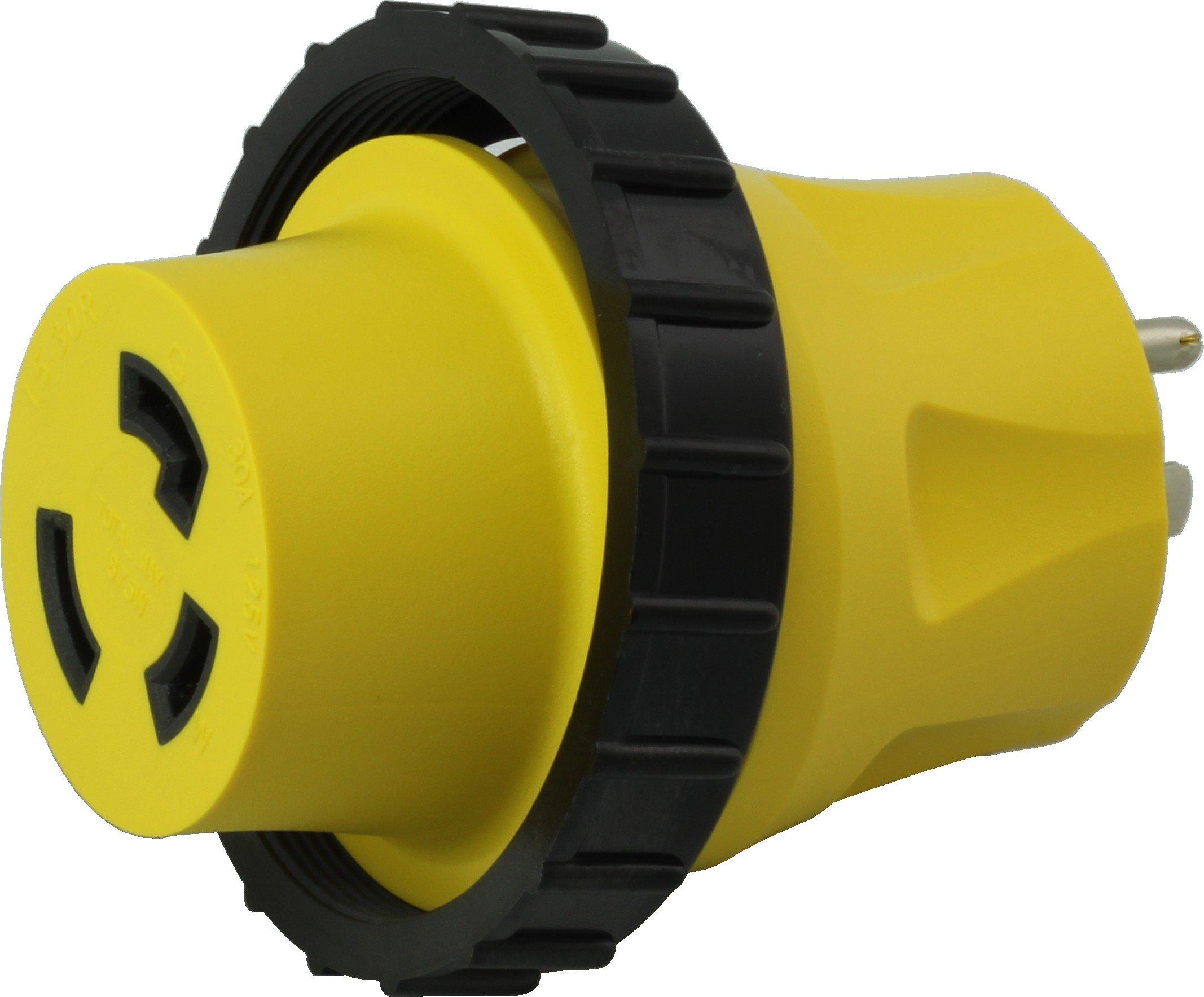 AC WORKS 30Amp RV Marine Detachable Adapters (5-15P Household 15A Plug)