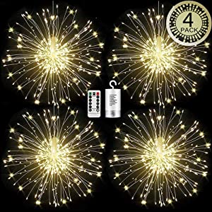 WGCC 4 Pack Firework Hanging Lights 120 LEDs 8 Modes Copper Wires Hanging Battery Operated Decorative Lights with Remote, Waterproof Starburst String Lights, Fairy Lights for Home, Indoor & Outdoor