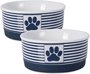 Bone Dry Paw Patch & Stripes Ceramic Pet Bowl & Canister Collection, Small Bowl Set - 4.25 x 4.25 x 2