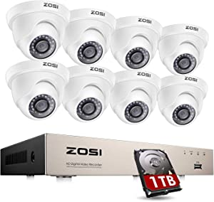 ZOSI 1080P H.265+ Home Security Camera System with Hard Drive 1TB ,5MP Lite 8 Channel CCTV DVR Recorder and 8 x 1080p Weatherproof Camera Outdoor Indoor with 80ft Night Vision, Motion Alerts