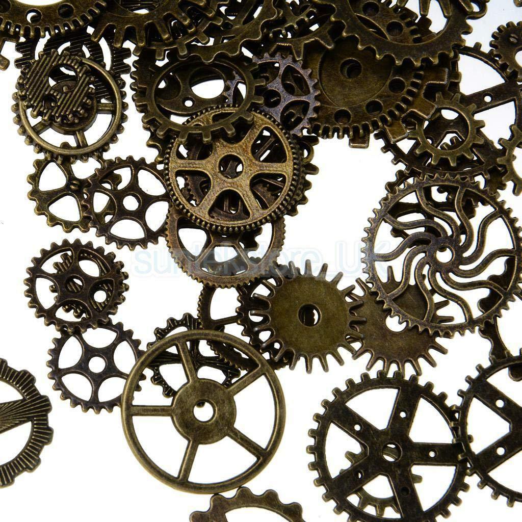 3x 100pcs Assorted Antique Bronze Gear Wheel Charm Pendant Lot DIY Craft
