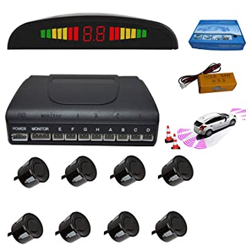 5c33bbf0e35 Car Parking Sensor 8 Reversing Sensors Kit Black Reverse Backup Radar System  Assistance with Front and
