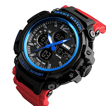 Amazon.com: SKMEI 1343 LED And Pointer Display 50M Multifunctional Waterproof Calendar Stopwatch Sports Watch (Blue Red): Toys & Games