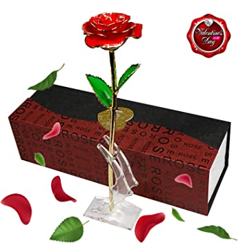 Smallrt 24k Rose Plaque Or Elegante Fleur Romantique Eternelle