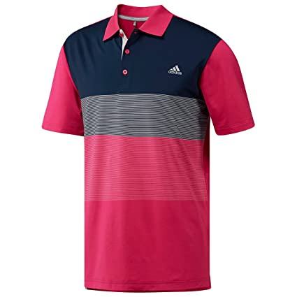 041f1d59 adidas Golf 2018 Ultimate 365 Gradient Stripe Mens Golf Polo Shirt Real  Magenta Small