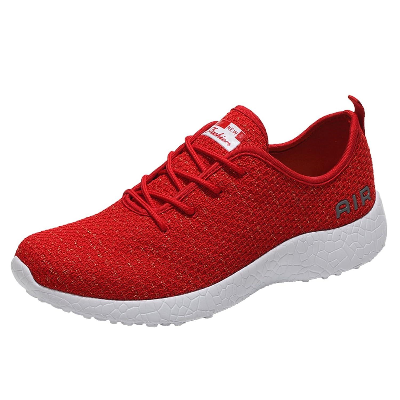 HZMIN Women's Running Shoes Fashion Sport Lightweight Walking Sneakers Red Size 7