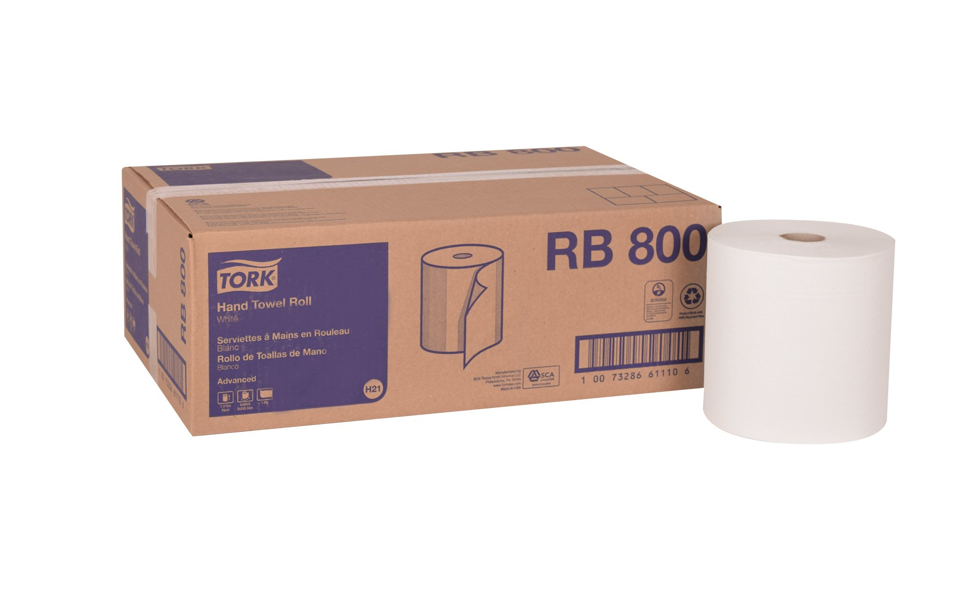 Tork Advanced RB800 Hardwound Paper Roll Towel, 1-Ply, 7.87'' Width x 800' Length, White (Case of 6 Rolls, 800 per Roll, 4,800 Feet)