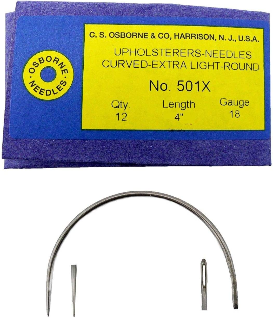 C.S Osborne Pack of 12 Curved Needles Extra Light #501X Size 4 Made in USA