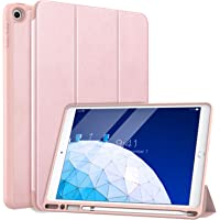 "MoKo Case Fit New iPad Air (3rd Generation) 10.5"" 2019 with Apple Pencil Holder - Slim Lightweight Smart Shell Stand Cover Case with Auto Wake/Sleep Fit iPad Air 3 2019 Tablet - Rose Gold"