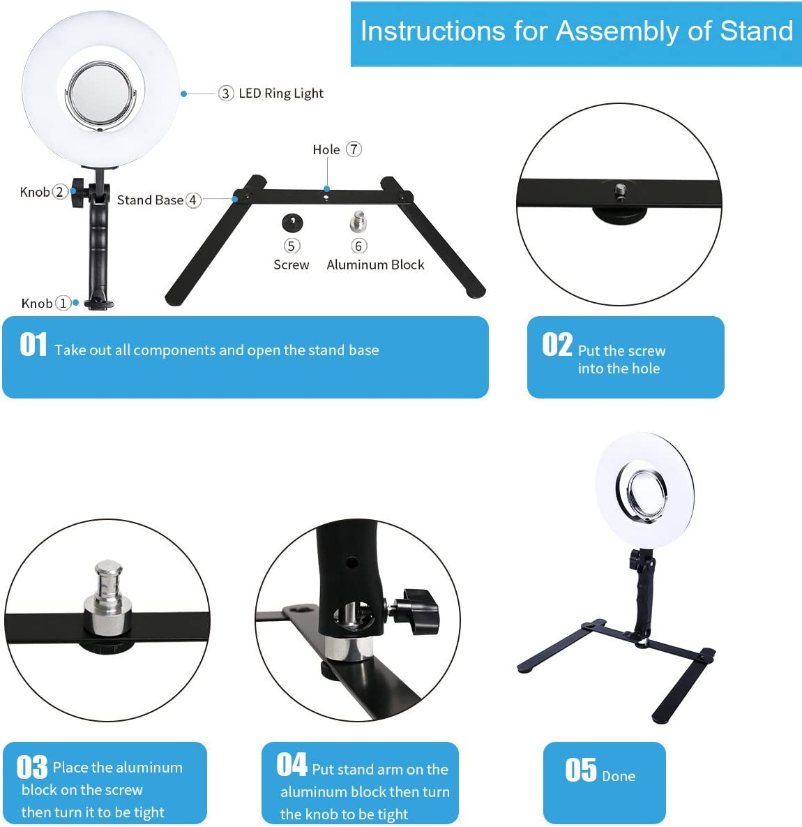 8-inch LED Selfie Ring Light with Stand for Makeup Table Top Dimmable 24W 5500K Beauty Lamp with Bracket+3.5 Mirror+Mini Tripod+Phone Clamp,for YouTube Vine Self-Portrait Video Photography