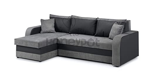 Honeypot - Sofa - Kris Universal - Sofa Bed - Faux Leather/Fabric  (Black/Grey)