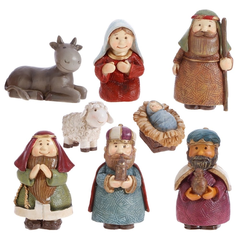 Christmas Nativity Set with Wise Men, Holy Family, Animals, 8 Pieces, 3 Inch