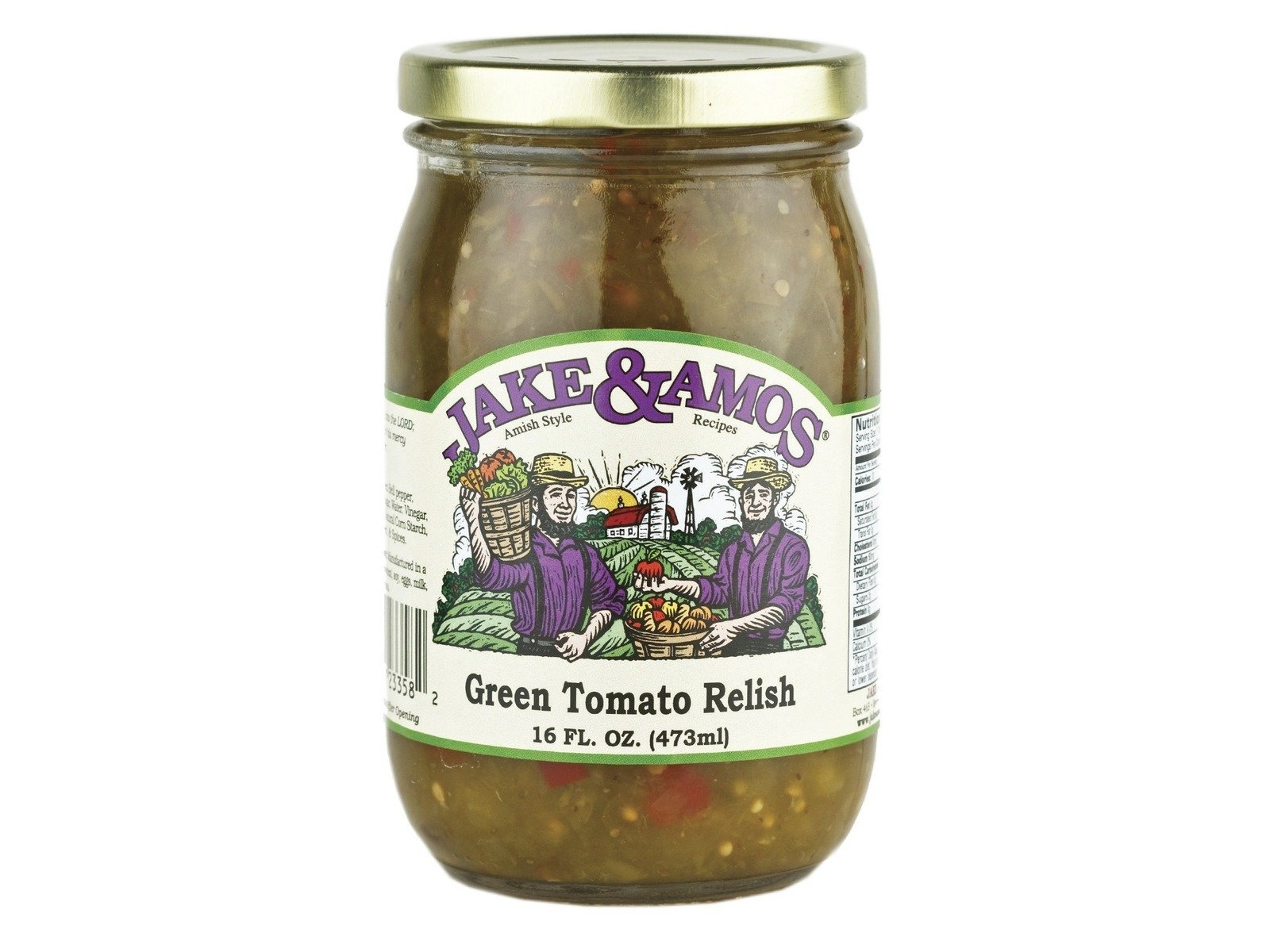 Jake & Amos Green Tomato Relish, 16 Ounce - 3 Pack
