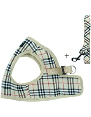 PUPTECK Soft Mesh Small Dog Harness with Leash Basic Plaid Padded Vest for Puppy