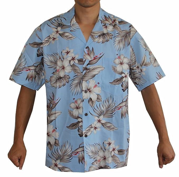 cadc4dd78 Alohawears Clothing Company Men's Bird Flower Hawaiian Aloha Shirt (M, Sky  Blue)