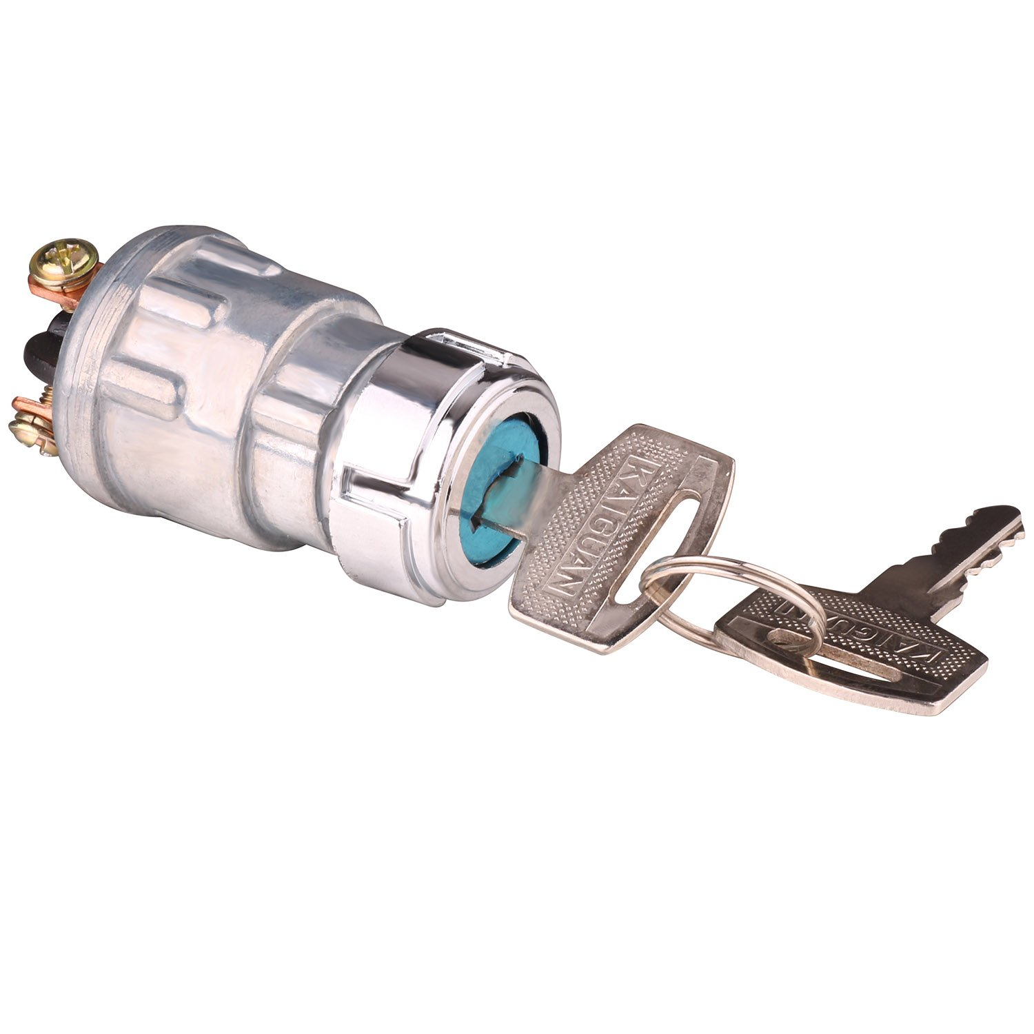 ignition switch with key, lenmumu universal 3 wire engine starter switch  for car, motorcycle, tractor, forklift, truck, scooter, trailer,