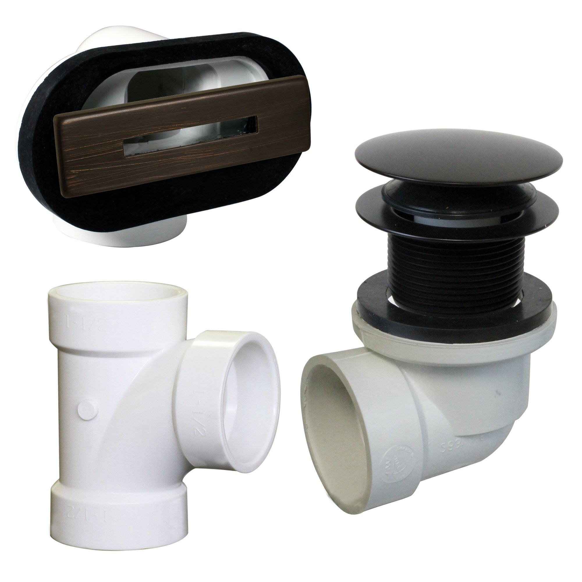 Westbrass D560RK-12 Linear Overflow Plumber's Pack withTee and ADA Tip-Toe Drain (Oil Rubbed Bronze)