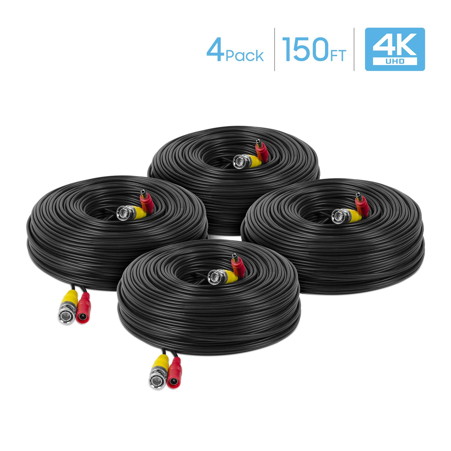 Amcrest 4-Pack 4K Security Camera Cable 150FT BNC Cable, Camera Wire CCTV, Pre-Made All-in-One Video and Power Cable for Security Camera, HDCVI, HDTVI Camera, Analog, DVR (4PACK-SCABLE4K150B-PP) by Amcrest