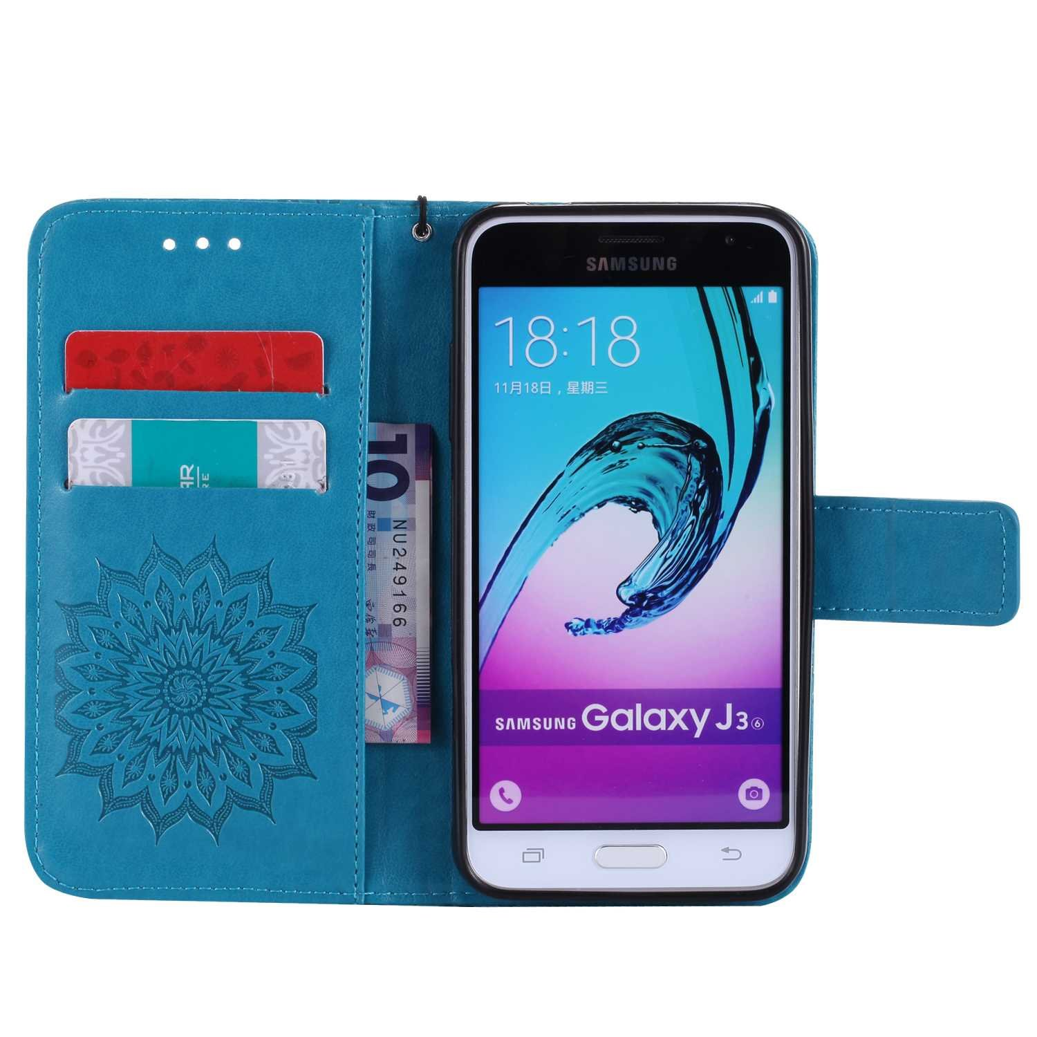 Bear Village Leather Case with Inner Stand Function Card Slot #6 Blue Magnetic Flip Phone Protective Case for Samsung Galaxy J3 2016 Case Galaxy J3 2016