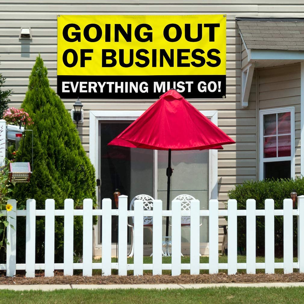 Vinyl Banner Multiple Sizes Going Out of Business Everything Must Go D Business Outdoor Weatherproof Industrial Yard Signs White 10 Grommets 60x144Inches