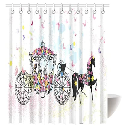 InterestPrint Vintage Floral Shower Curtain Carriage Black Horse Colorful Flowers Fairy Butterfly Cinderella