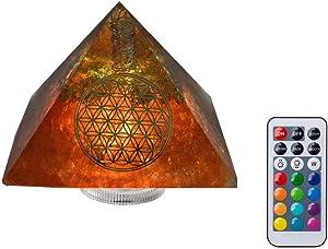 Handmade Crystal Orgone Pyramid Night Light ,Energy Healing,Emf Protection,Orgone Stone Pyarmid,Waterproof Led Lights & Remote Control(3.7×3.7×2.7inch) (Orange)
