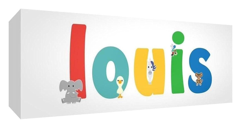 Little Helper Toile Boîte Galerie Enveloppé avec Panneau Avant Style Illustratif Coloré avec le Nom de Jeune Garçon Louis 15 x 42 x 3 cm Petit LHV-LOUIS-1542-15FR