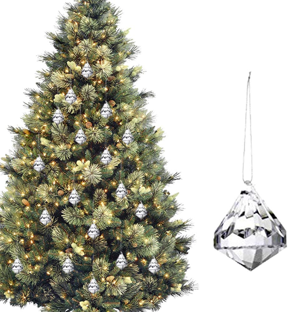 HOHIYA Acrylic Crystal Christmas Tree Ornaments Dangle Drop Ball Xmas Decorations (Clear,Pack of 24)