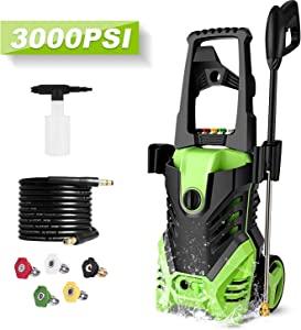 Homdox 3000 PSI Power Washer Electric Pressure Washer 1.8 GPM 1800W Professional Power Washer Cleaner with 5 Nozzles (Green)
